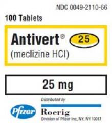 Generic Antivert (tm) 25mg Meclizine (60 Pills)